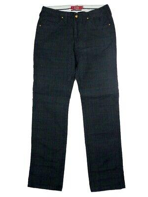 Compiacente Pantaloni Jeans Uomo Jaggy Mcqueen Tg W 32 It 46 Blu A Quadri Cotone Estivo