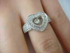 14K WHITE GOLD HAPPY-MOVING DIAMOND HEART SHAPED LADIES RING 4.6 GRAMS SIZE 7