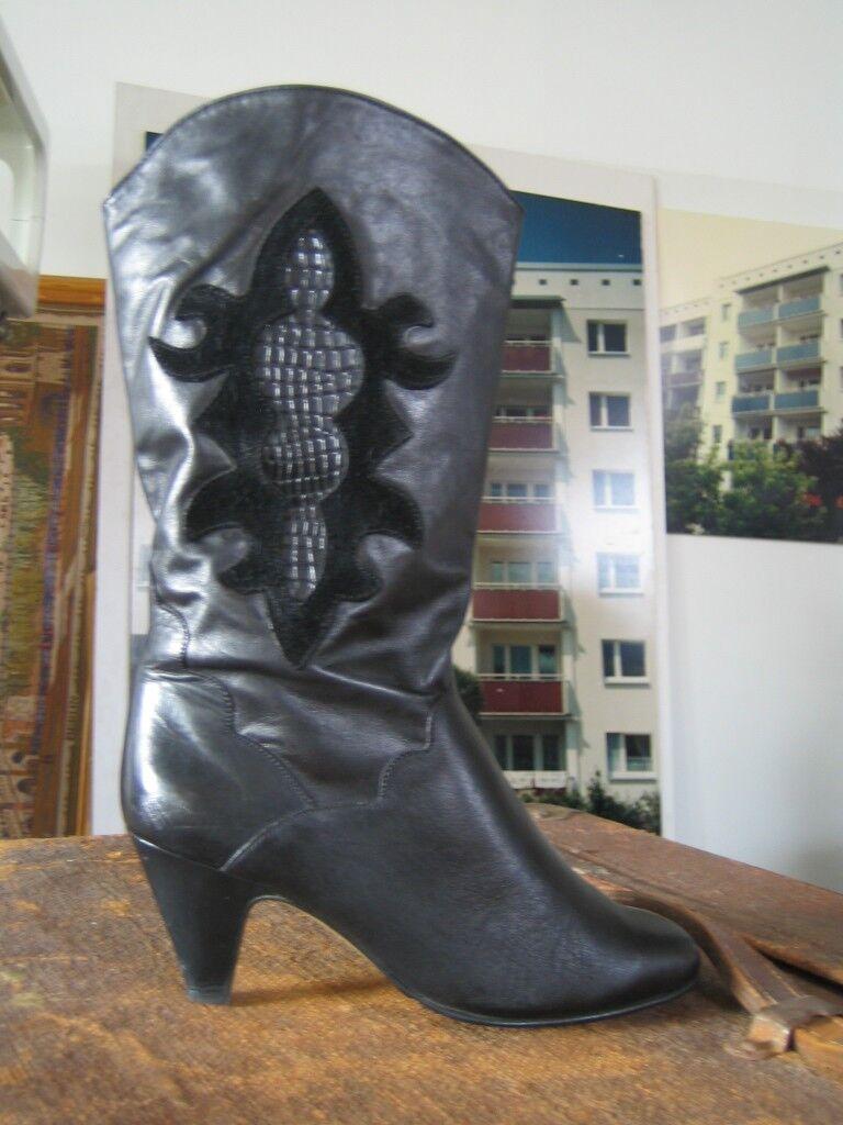 Botas señora botas Black negro slouch rocker 80er True vintage 80´s