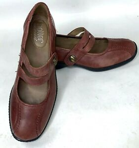 Hotter-Comfort-Concepts-Womens-Mary-Jane-Shoes-Brown-Leather-Flats-US-Size-7