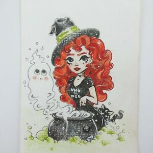 Miniature-Halloween-Witch-Painting-Redhead-VHS-Black-Cat-Ghost-4x6