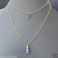 Bohemian Gold Finish Dainty Two Layered Necklace With Lilac Stone Pendant