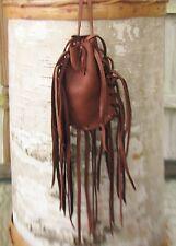 "Native American Medicine Bag Mahogany 4 1/2""x3"" William Lattie Cherokee Cert Aut"