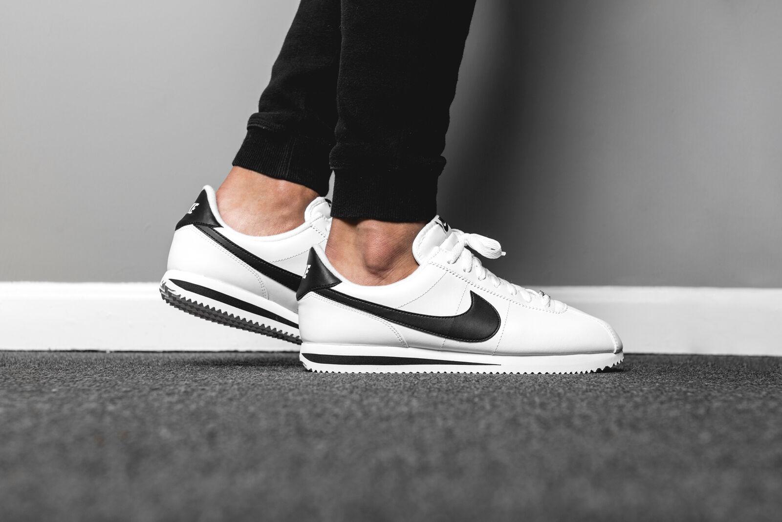 Nike cortez grundlegende leder klassischen weiß - schwarz 819719-100 sz 8 forrest gump.