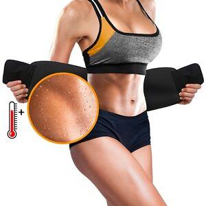 Sweat-Waist-Trainer-Trimmer-Belt-Body-Shaper-Wrap-Weight-Loss-Belt-Black