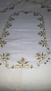 Oval-Brown-off-gold-pattern-cross-stitch-embroidered-tablecloth-57-034-x-76-034