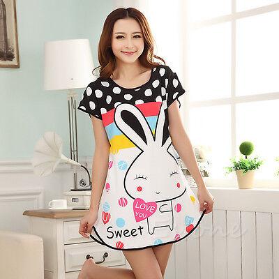 New Women Polka Cartoon Dot Sleepwear Pajamas Short Sleeve Sleepshirt Sleepdress
