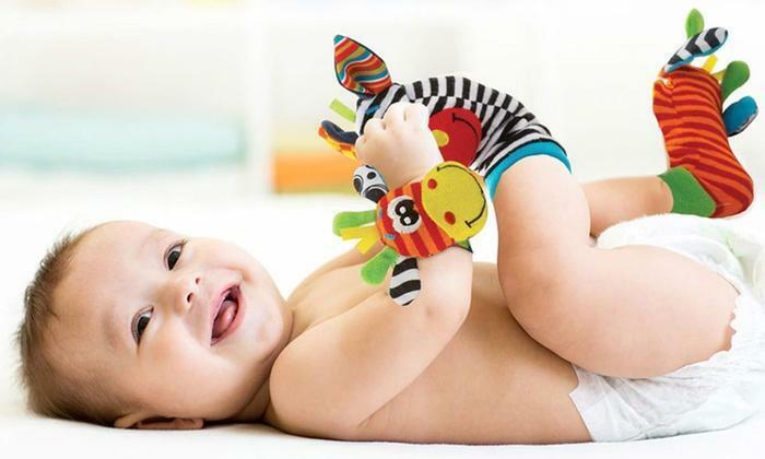 Baby Wrist Strap Rattles Animal Socks Toy New Set Infant Soft Plush Soft Hand
