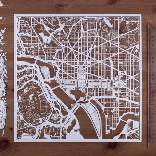 PAPER CUT MAP Washington D.C Paper Art Original Design IDEAL GIFTS 12 12In.
