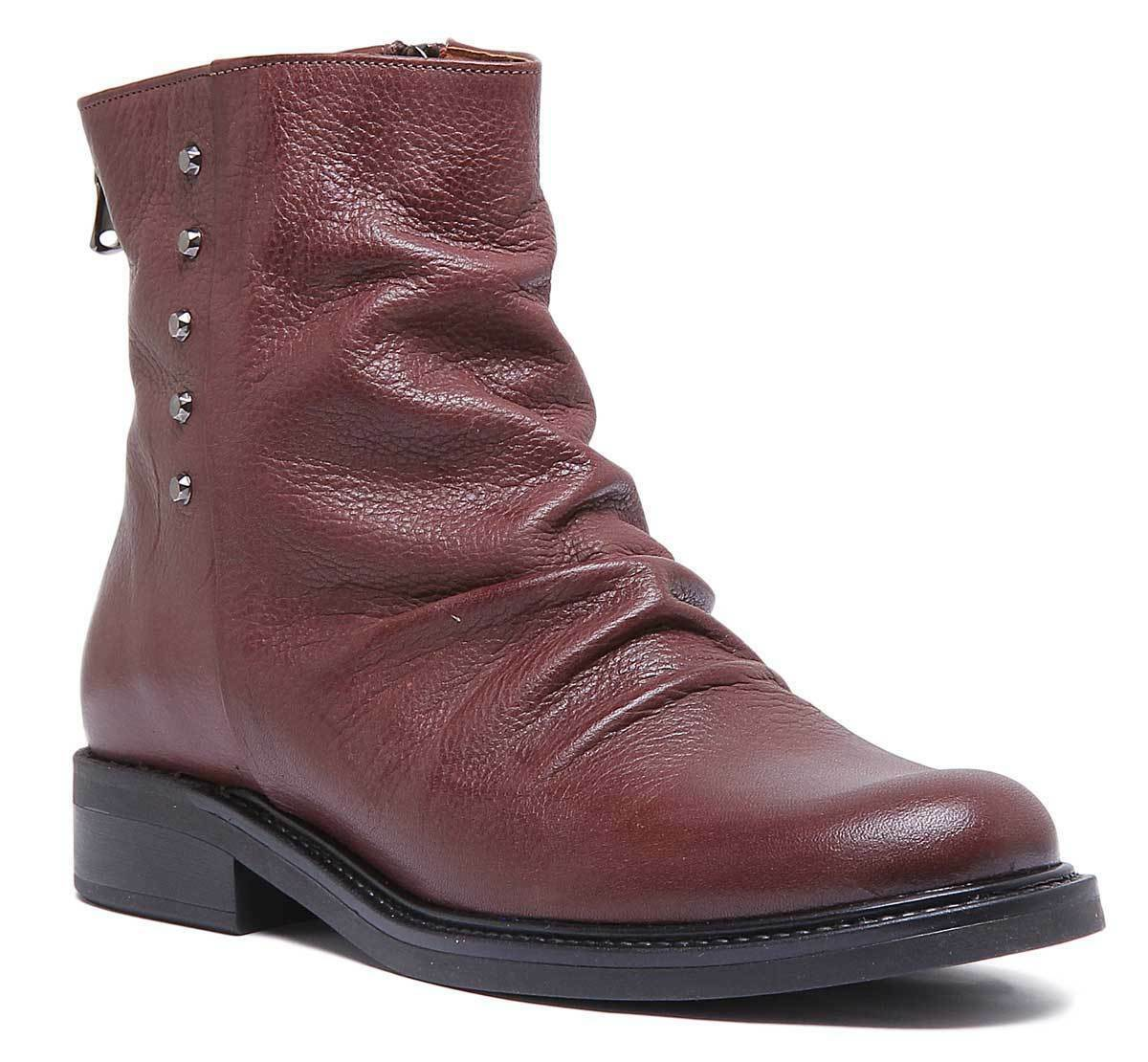 Justin Reece Womens Flat Casual Leather Slough Boot Brown Size UK 3 - 8