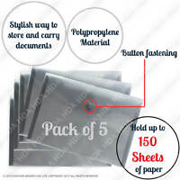 Pack of 5 A5 Quality Plastic Stud Document Wallets Folders Filing Paper Storage