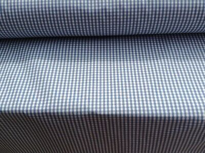 French  Lyon Cotton Gingham Check Blue 140cm wide Curtain  Fabric