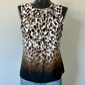 Medium-Womans-NWOT-CALVIN-KLEIN-Animal-Print-Sleeveless-Blouse-Top