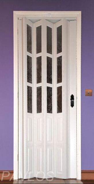 Folding Door PVC White Half Glass Lockable Internal Door 12mm Thick ...