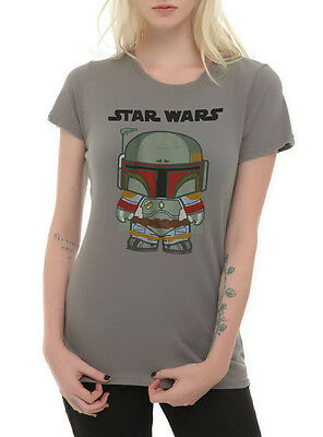 STAR WARS Boba Fett CHIBI TEE Womens GIRLS Dark Side Bounty Hunter T Shirt