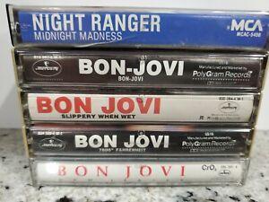 Bon-Jovi-Night-Ranger-Lot-of-5-Cassette-Tapes-Metal-90-039-s-Bands-Slippery-When-Wet