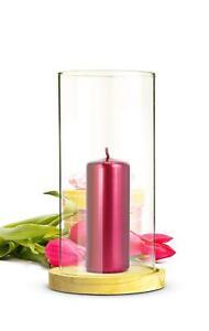 Windlicht-Glaszylinder-mit-Holzteller-Kerzenhalter-Kerzenstaender-Laterne