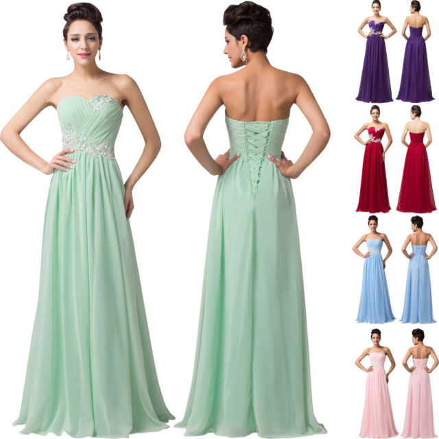New LONG Chiffon Mint Green Bridesmaid Ball Gown Party Formal Evening Prom Dress