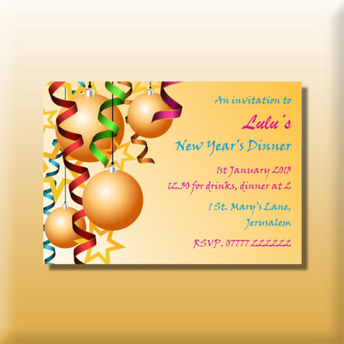 Personalised New Year/'s Eve Invitations Party Invites Dinner Drinks Celebration