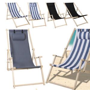 Liegestuhl Stoff Deck Holz Klappbar Strand Klappbare Holzliege Strandstuhl