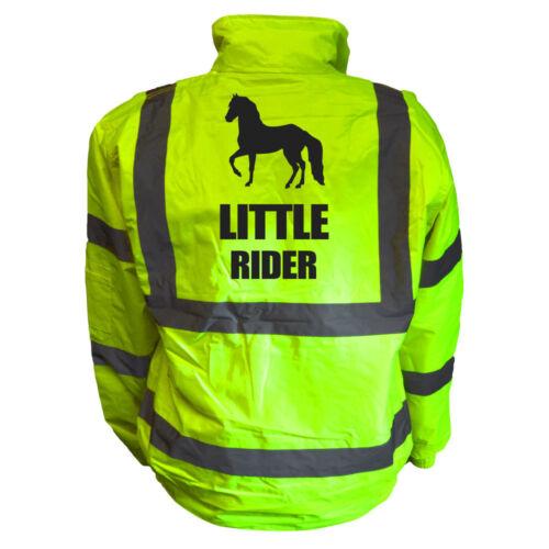 LITTLE RIDER HORSE HIGH VIS KIDS BOMBER JACKET HI VIS PERSONALISED CHILDS