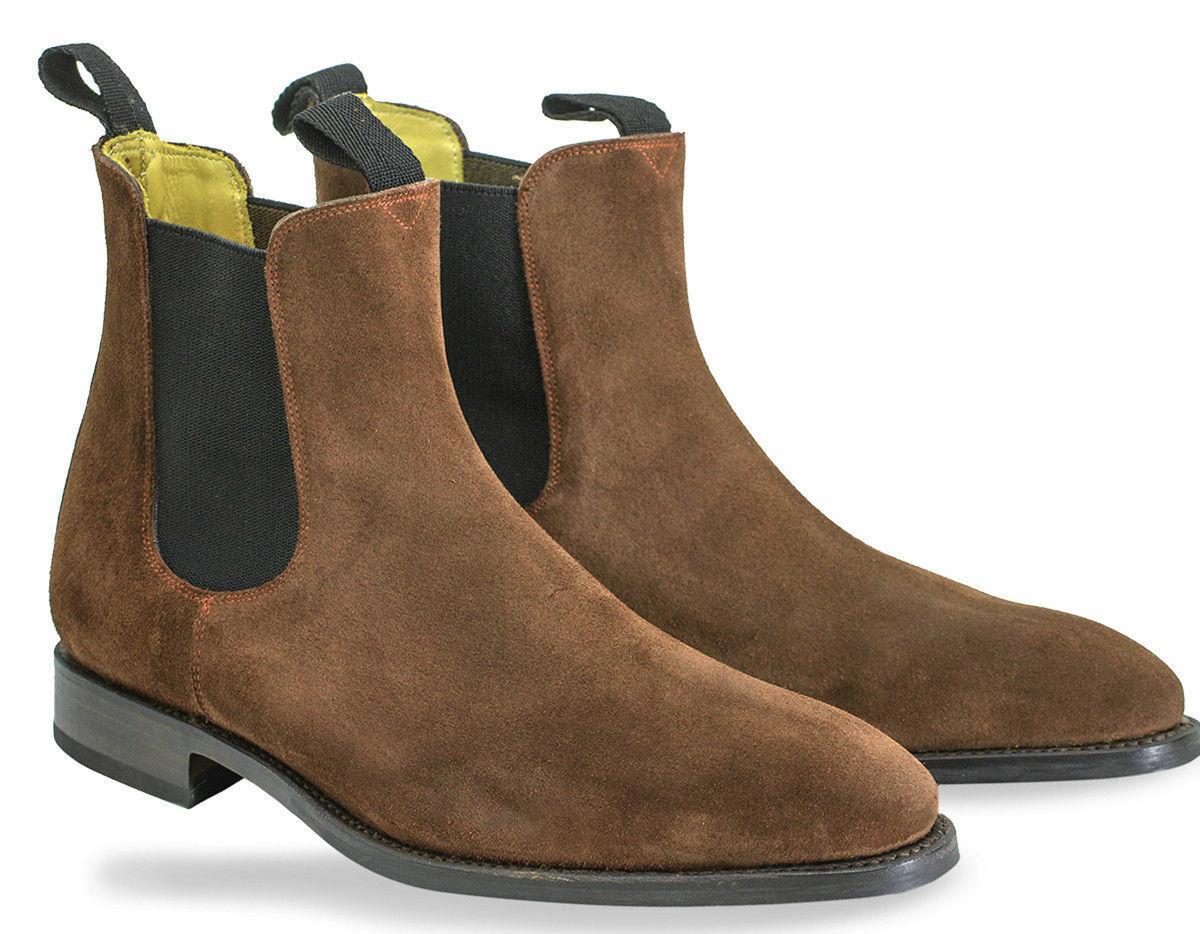 botas para hombre Hecho a Mano De Cuero Gamuza Color Marrón Chelsea Tobillo Zapatos Ropa Formal Nuevo