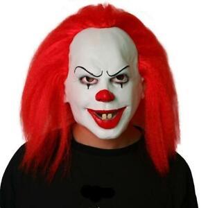 Maschera It Pagliaccio.Maschera Clown It Horror Capelli Rossi Halloween Carnevale Pagliaccio Cosplay Ebay
