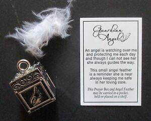 r guardian angel prayer box feather charm sign hope remembrance loss