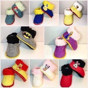 46fae46eb13a Hand knitted newborn 0-3 month baby booties disney princess batman ...
