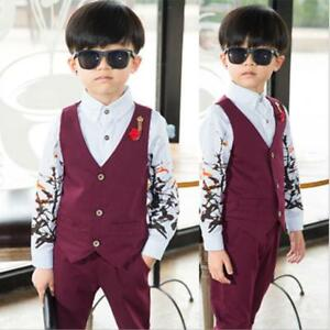 63e8892cdda2e 2pcs Kids Baby Boys Gentleman Suit For Wedding Vest+Pants Fashion ...