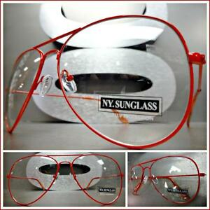 CLASSIC VINTAGE Old School RETRO Style Clear Lens EYE GLASSES Red Fashion Frame