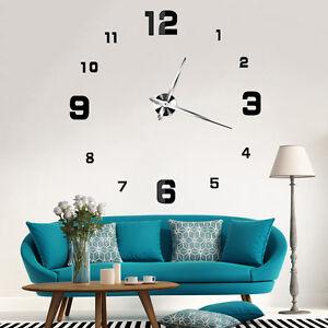 Large Size Wall Clock 3d Sticker Mirror Big Watch Diy Home