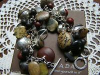 Silpada Sterling Silver Kadam Padauk Ebony Wood, Chalcedony Bracelet B2003 $189