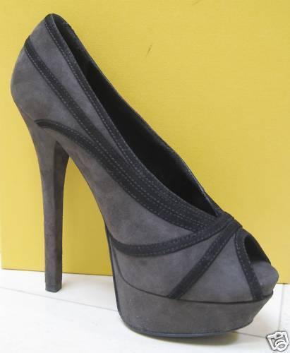 Nuevo En Caja Fendi Jardin Sexy gris Gamuza Gamuza Gamuza Peep Toe Zapatos De Salón 38.5  alta calidad y envío rápido