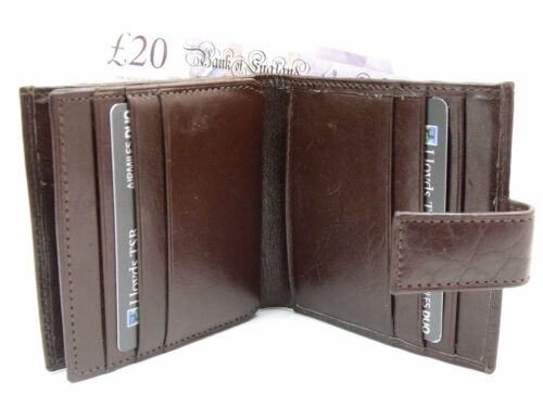 MENS LUXURY BROWN REAL HIGH QUALITY LEATHER CREDIT CARD HOLDER WALLET