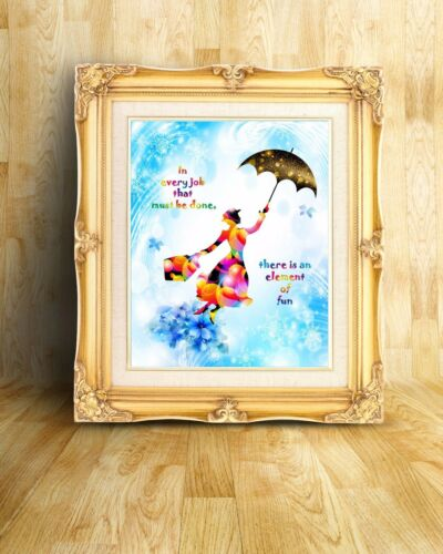 Uhomate Mary Poppins In Every Job Quotes Art Print Nursery Wall Decor C028
