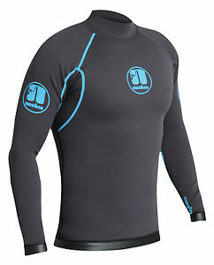 Grey/Cyan-Nook<wbr/>ie Ti Vest Long Sleeve-1mm Neoprene Top-Kayak/Surf<wbr/>/SUP/Wetsuit