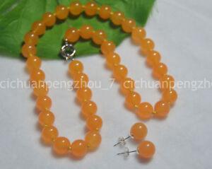 Round Orange Jade Stone Beaded  Fashion Beads For Jewelry Making  Bracelets