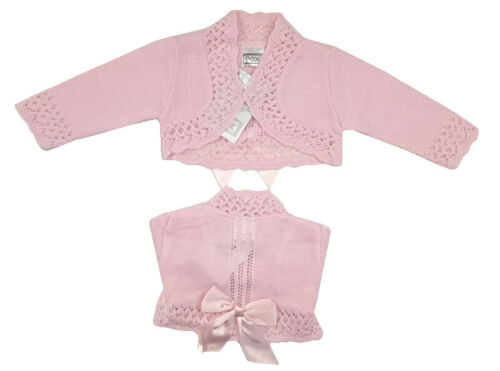 BABY TODDLER GIRLS FANCY PINK CHRISTENING FLOWER GIRL PARTY BOW BOLERO CARDIGAN