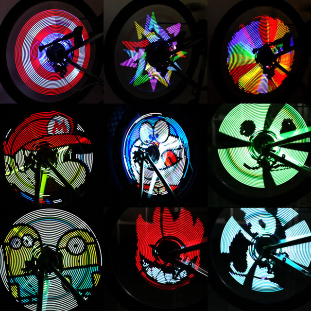 Programmable RGB 192 LED DIY Bike Cycling Bicycle Wheel Tire Spoke Light Rainbow