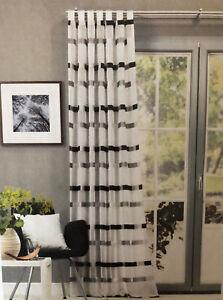Details zu Schlaufenschal mit Streifen schwarz/weiß Gardine Vorhang BxH  140x245cm Schal