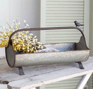 Surprising Details About New French Country Farmhouse Chic Garden Tool Box Metal Basket Caddy With Bird Pabps2019 Chair Design Images Pabps2019Com