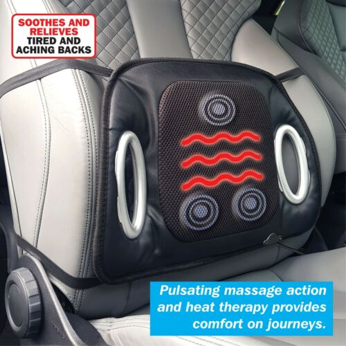 Streetwize Black 12V Car Heated Seat Cushion with Lumbar Back Support /& Massage