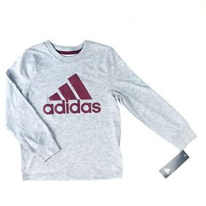 Adidas Boys Grey Red Long Sleeve Cotton Textured Logo Casual T ...
