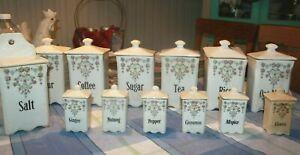 Antique lot of 13 pieces Ceramic Canisters White floral Sugar Flour Tea