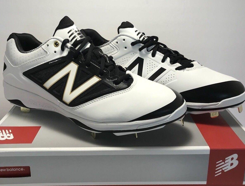 New Balance Uomo Dimensione Dimensione Dimensione 12.5 Low Metal Baseball Cleats bianca nero 0748b0