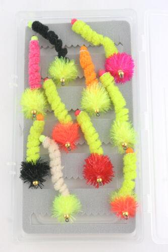 X1 /& X10 Goldhead Curly Wotsits Blobs /& Box,10 Colours,Trout Fishing Flies