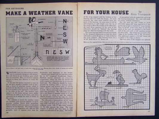 8 Weathervane Designs Sheet Metal / Plywood 1941 HowTo build PLANS