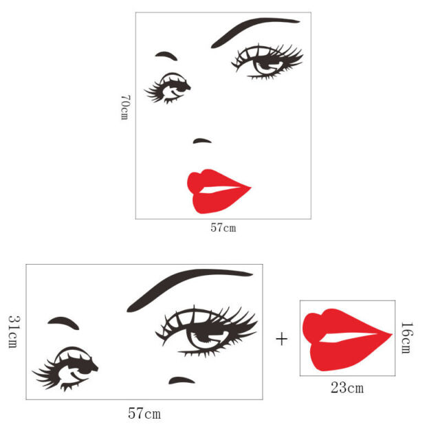 958c792c054 Eye Eyelashes Wall Decal Sticker Lashes Eyebrows Brows Beauty Salon Quote  Decals