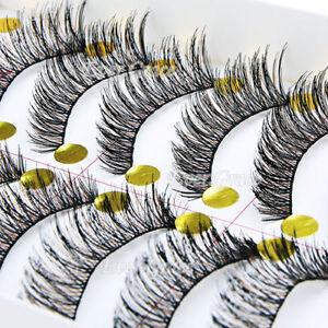 20-Pairs-Natural-Long-Cross-False-Eyelashes-Makeup-Fake-Thick-Black-Eye-Lashes